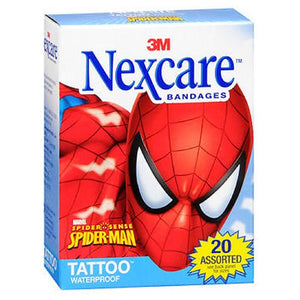Nexcare Tattoo Waterproof Bandages Spider-Man Assorted Sizes 20 Each