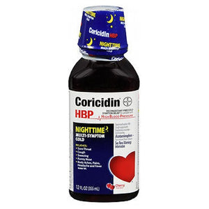 Coricidin HBP Nighttime Multi-Symptom Cold Liquid Cherry Flavored 12 oz