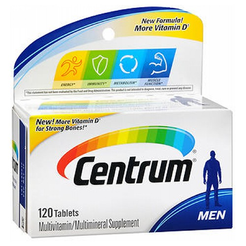 Centrum Men Under 50 Multivitamin/Multimineral Tablets 120 Tabs by Centrum Energy* Immunity* Muscle Function* Metabolism* Physical Stress*