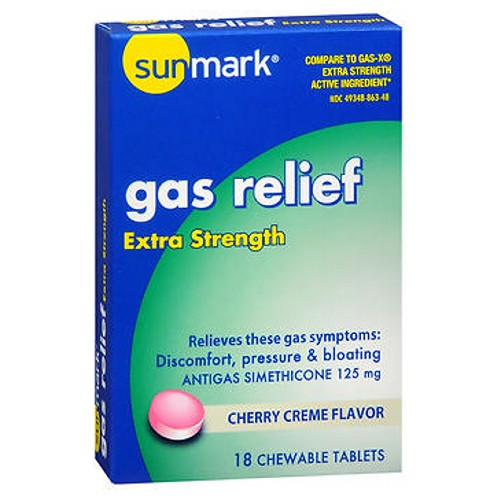 Sunmark Gas Relief Chewable Tablets Extra Strength Cherry Creme Flavor 18 Tabs by Sunmark Extra StrengthRelieves these gas symptomsDiscomfortPressure and bloatingAnti Gas Simethicone 125 mgCherry Creme Flavor
