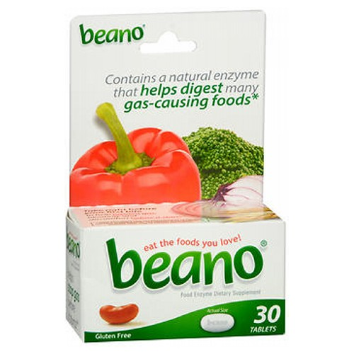 Beano Food Enzyme Dietary Supplement Tablets 30 Tabs by Beano Beano is an all-natural solution for a completely natural problem. Many people experience gas and discomfort after eating vegetables, grains, beans, legumes, and other wholesome or high-fiber foods. Even cereals, breads, nuts, and seeds can be problematic.If you've begun to avoid these foods because of the embarrassment or discomfort they cause, Beano is your solution. You're missing out on some of the most nutritious foods around -- foods that are essential ingredients in many delicious recipes. And avoiding these foods is unnecessary. You don't have to give up eating the healthy things you love, because Beano can help.