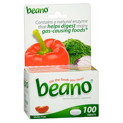 Beano Food Enzyme Dietary Supplement Tablets 100 Tabs by Beano Beano is an all-natural solution for a completely natural problem. Many people experience gas and discomfort after eating vegetables, grains, beans, legumes, and other wholesome or high-fiber foods. Even cereals, breads, nuts, and seeds can be problematic.If you've begun to avoid these foods because of the embarrassment or discomfort they cause, Beano is your solution. You're missing out on some of the most nutritious foods around -- foods that are essential ingredients in many delicious recipes. And avoiding these foods is unnecessary. You don't have to give up eating the healthy things you love, because Beano can help.