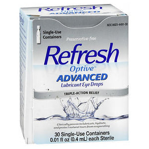 Refresh Optive Advanced Lubricant Eye Drops Sensitive - 30 Each