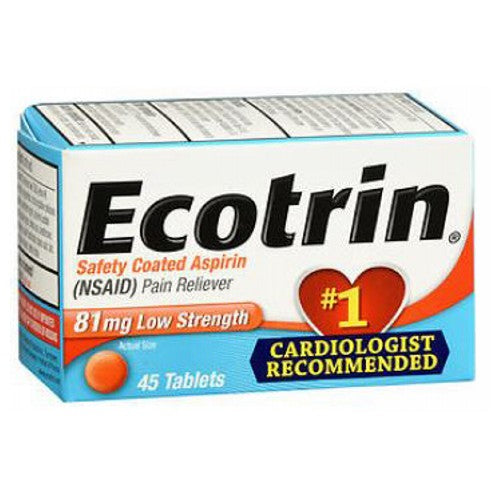 Low Strength Aspirin Pain Reliever Tablets 45 Tabs by Ecotrin Safety Coated AspirinPain RelieverLow StrengthCardiologist Recommended