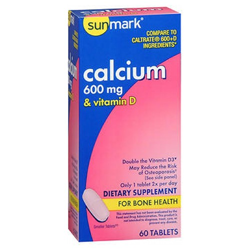 Sunmark Calcium With Vitamin D Tablets 60 Tabs by Sunmark Double the Vitamin D3May reduce the risk of osteoporosisDietary SupplementFor Bone Health
