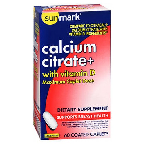 Sunmark Calcium Citrate With Vitamin D Caplets 60 Caps by Sunmark With vitamin D Maximum Caplet DoseDietary SupplementSupport Breast HealthGluten Free