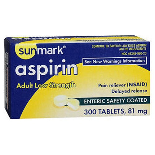 Sunmark Aspirin Adult Enteric Safety Coated Tablets 300 Tabs by Sunmark Adult Low StrengthPain reliever(NSAID)Delayed releaseEnteric Safety Coated