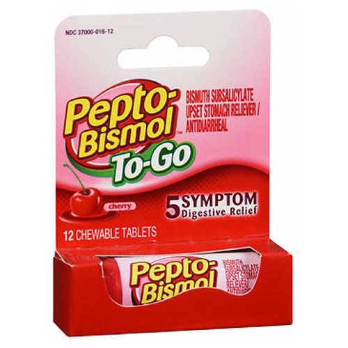 Pepto-Bismol To-Go Tablets 12 Tabs by Pepto-Bismol Bisumth Subsalicylate Upset Stomach Reliever/Antidiarrheal*
