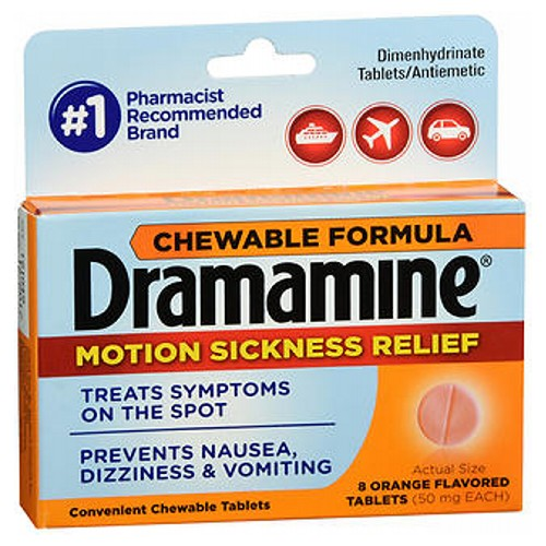 Dramamine Motion Sickness Relief Chewable Tablets Orange Flavored 8 Tabs by Med Tech Products Dramamine Motion Sickness Relief Chewable Tablets Orange Flavored 8 Tabs by Med Tech Products