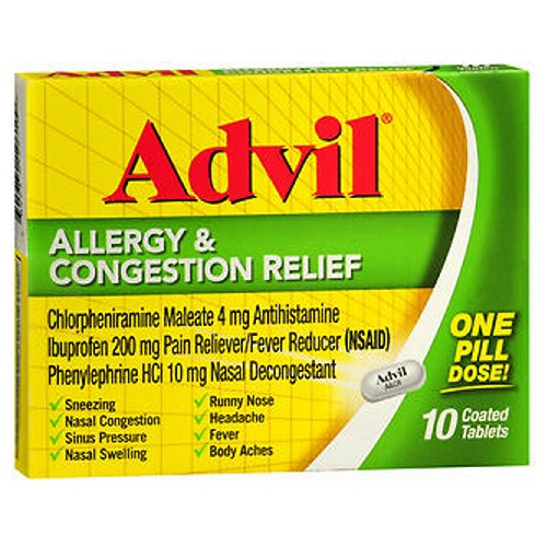 Advil Allergy Congestion Relief Coated Tablets 10 Tabs by Advil Pain Reliever / Fever ReducerNasal Decongestant Relief of : Sinus Pressure, Nasal Swelling  Congestion, Sneezing, Runny Nose and Headache