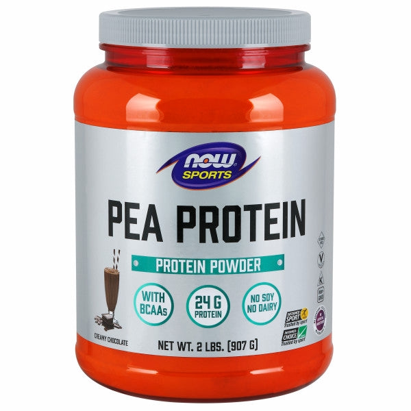 Pea Protein Dutch Chocolate, 2 lbs by Now Foods Peas are well known for being a source of highly bioavailable protein. Additionally, peas are not considered one of the major dietary allergens. Collectively, this makes pea protein an ideal source of post-workout nutrition for athletes who may have difficulty supplementing with other types of protein. NOW? Sports Pea Protein is a non-GMO vegetable protein isolate that has 24 grams of easily-digested protein. Each 1 scoop serving typically has over 4,200 mg of branched-chain amino acids (BCAAs), and over 2,000 mg of arginine.