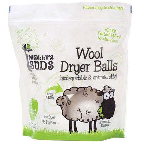 Wool Dryer Balls 0.77 lb (3 Count) by Molly's Suds 100% Felted Wool to the Core Biodegradable  Antimicrobial* Humanly Raised No Dyes No Perfumes
