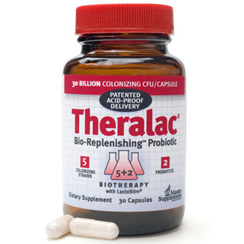 Theralac Bio-Repleneshing Probiotic 30 Caps by Master Supplements Dietary Supplement Digestive Care With Lactostim* 5 Colonizing Strains 2 Prebiotics 3o Billion Colonizing CFU/Capsule
