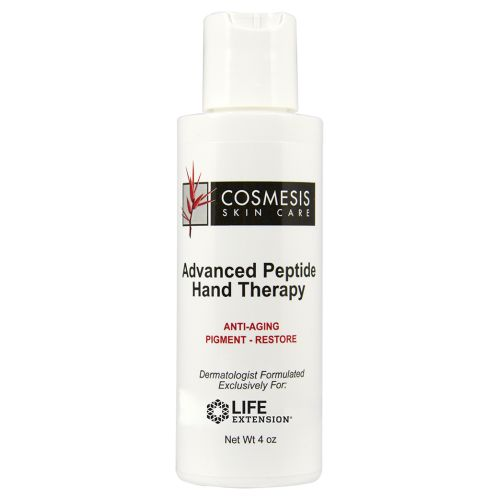 Advanced Peptide Hand Therapy 4 Oz by Life Extension Cosmesis Advanced Peptide Hand Therapy is a new formulation containing six natural compounds that help rejuvenate the appearance of aging hands by lightening dark spots, minimizing the crepe-like appearance of wrinkles, hydrating the skin, and correcting skin tone.
