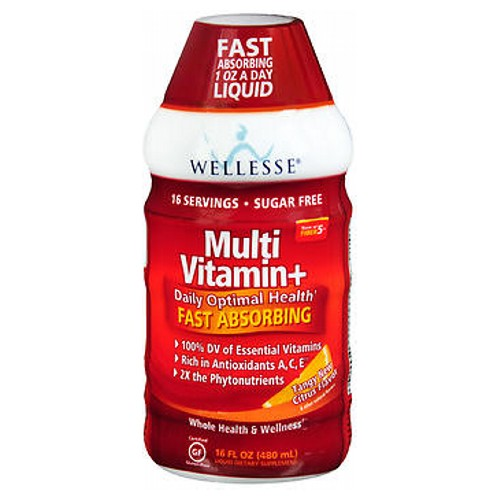Wellesse Multi Vitamin+ Citrus 16 oz by Wellesse Liquid Dietary Supplement Rich in Antioxidants** Essential Vitamins A,C,E** Complete B-Complex Plus Whole Fruit Phytonutrients