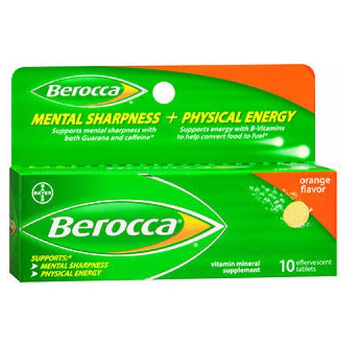Berocca Mental Sharpness + Physical Energy Vitamin Mineral Supplement Orange Flavor 10 Tabs by Berocca Vitamin Mineral Supplement Supports Mental Sharpness  Physical Energy*