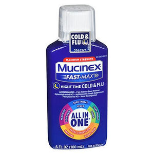 Mucinex Fast-Max Night Time Cold & Flu Liquid 6 oz