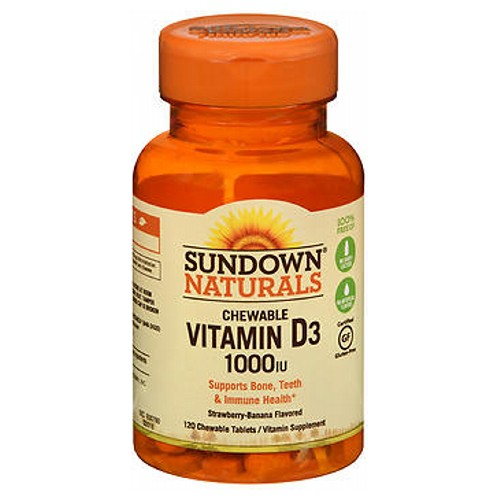 Sundown Naturals Chewable Vitamin D3 Strawberry-Banana Flavor 120 Tabs by Sundown Naturals Vitamin Supplement Supports Bone  Immune Health*