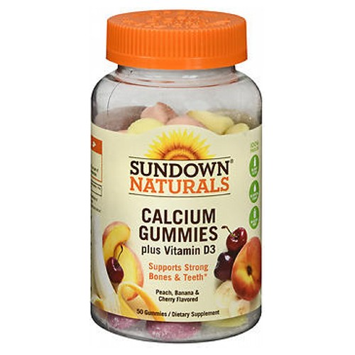Sundown Naturals Calcium With Vitamin D3 Gummies 50 Each by Sundown Naturals Dietary Supplement Gluten-Free Gummies With Vitamin D3 Supports Bone and Teeth Health* No Artificial Flavors