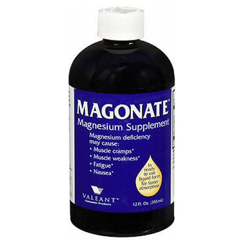 MAGONATE Magnesium Supplement 12 Oz by Bausch And Lomb Magnesium Deficiency May Cause Muscle Cramps* Muscle Weakness* Fatigue* Nausea* In Ready To Use Liquid Form