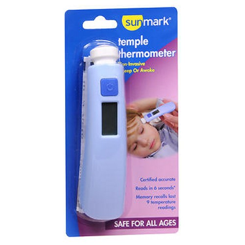 Sunmark Digital Temple Thermometer 1 Each by Sunmark The new Sunmark Temple Thermometer accurately measures body heat using Patented R.A.T.E. technology (Rapid, Accurate, Temperature, Establishment). Sensors rapidly track the heat flow generated from blood vessels to the skins surface and converts measurement to body temperature. Great for home, office and day care. Fast accurate 6 second reading can be taken while asleep or awake. Meets accuracy standards. Gentle, non-invasive sensor accurately reads in degrees F and degrees C (no sterile covers required, just wipe with alcohol). Power/memory control button. Large digital display. 2 AAA batteries included. Contains: One thermal temple thermometer with batteries, instructions (English and Spanish) and warranty information.