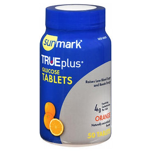 TRUEplus Glucose Tablets Orange 50 Tabs by Sunmark Dietary Supplement Naturally and Artificially Flavored Raises Low Blood Sugar and Boosts Energy*