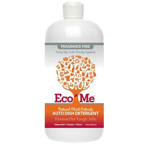Auto Dishwasher Detergent Fragrance Free 32 Oz by Eco-Me Natural Plant Extracts Family Safe, Earth-Friendly Ingredients Powered For Tough Jobs Cleans Dirt, Grease, Grime
