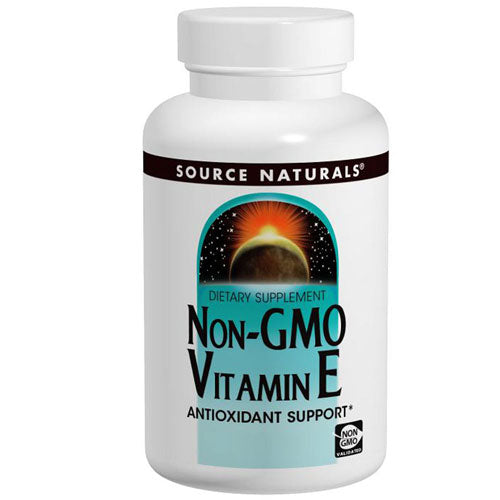 Vitamin E Non-GMO 120 Tabs by Source Naturals Vitamin E is one of the body's chief antioxidants and may help protect the bodys cells against free radical damage. Vitamin E supports the body's enzymatic activities and plays a role in gene expression, cell regulation, and neurological function.This esterified, stabilized, non-GMO vitamin E is comprised of d-alpha tocopheryl succinate, which provides d-alpha tocopherol, the most active form of vitamin E. One tablet provides 1,333 percent of the recommended daily value.*
