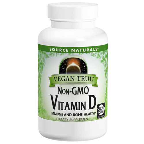Vegan True Non-GMO Vitamin D 60 Tabs by Source Naturals Unlike most vitamin D supplements that are from sheep's wool, Vegan True Non-GMO Vitamin D is made from organically cultivated Agaricus bisporus mushrooms. These bodies manufacture vitamin D when the skin is exposed to UV radiation from sunlight, but our ability to do so decreases as we age. Insufficient amounts of sun exposure as well as aging create a risk of vitamin D deficiency. Vitamin D is important for immune function and is vital for the maintenance of healthy bones and muscle strength. Vegan True Non-GMO Vitamin D provides 250% of the recommended vitamin D Daily Value. It does not contain any animal products or animal-derived ingredients.*