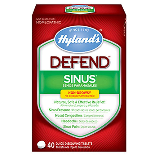 Sinus Defend Tablets 40 Tabs by Hylands Since 1903 Homeopathic Relief of: Sinus Pressure, Nasal Congestion, Headache, Sinus Pain*Non-Drowsy Quick Dissolving Tablets
