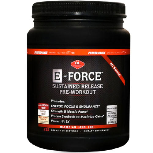 E-Force Sustained Release Pre-Workout 643.5 g by Olympian Labs Dietary Supplement Allergen Free All Natural Promotes Energy, Focus,  Endurance* Strength  Muscle Pump* Protein Synthesis to Maximize Gains*