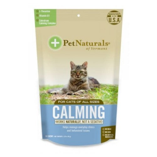 Calming Supplements for Cats 30 Chews by Pet Naturals of Vermont Works Naturally, Not A SedativeHelps Manage Everyday Stress and Behavioral Issues