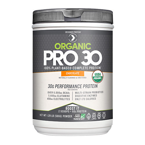 Organic Pro 30 Chocolate 1.29 lbs by Designer Whey Designer Protein is a leader in high quality protein products that support healthy nutrition, fitness and overall well-being. Our range includes whey and plant-based proteins designed for health, strength, power, and performance. Designed for Performance - clean fuel your body deserves. Advanced formula for lean muscles, strength, endurance, and recovery. Complete plant-based protein provides clean fuel for all levels of exercise. Every serving supplies 60% of your daily protein - from just 170 calories. Packed with branched chain amino acids for peak performance. Combined with plant-based nutrients to support normal inflamatory response., help fight radical damange, replenish electrolytes, and alleviate aches and pains due to exercise. Boosted with vegan -based enzymes to aid digestion absorbtion.