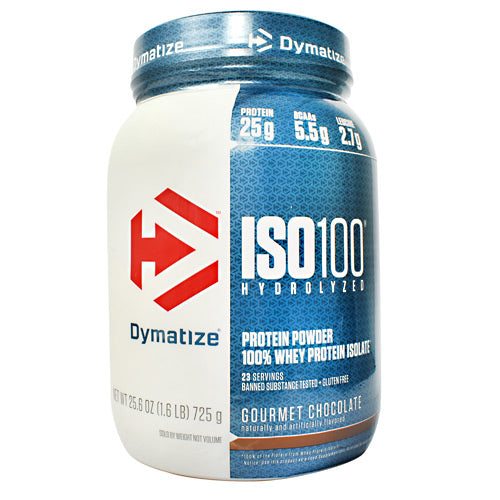 Iso-100 Chocolate 1.6 lbs by Dymatize New Improved Taste. Hydrolyzed 100% Whey Protein Isolate. You expect only the best from yourself and your nutrition. ISO-100 is one of the most advanced and effective proteins availabledeveloped to give you 100% of what you need to support muscle growth and achieve your goals. The Fastest-Acting Protein. ISO-100 provides 25 grams of super-fast absorbing 100% whey protein isolate and has been hydrolyzed for even faster absorption and digestion. It delivers quick amino acid replenishment, perfect first thing in the morning to stop catabolism or after intense training to speed your recovery. Each serving of ISO-100 has 5.5 grams of BCAAs including 2.7 grams of L-Leucine, the BCAA that is directly involved in activating Muscle Protein Synthesis to ensure your workouts are not going to waste. The Highest Level of Purity. ISO-100 uses only whey proteins derived from cross-flow microfiltration processing (cold-filtered) to preserve the many important whey protein fractions including lactoferrin and immunoglobins, which can be lost in other forms of processing. We have carefully formulated ISO-100 to deliver more of what you want, and less of what you don't: free of gluten and lactoseplus less than one gram of sugars and fat. With only a short list of ingredients, it is easy to see why ISO-100 is one of the purest proteins available. In addition, ISO-100 is produced in our own GMP manufacturing facility and is Informed-Choice Trusted by Sport certified providing assurance to the athletic community that ISO-100 is free of banned substances. New Improved Taste. The Dymatize has taken flavor to a whole new level. Our in-house flavor specialists worked long and hard to create an even more delicious taste. ISO-100, the reward you deserve for all your hard work and dedication. So delightfully delicious, you will look forward to the next shake.