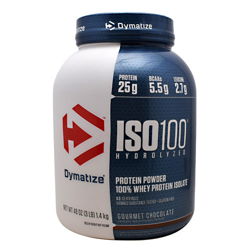Iso-100 Chocolate 3 lbs by Dymatize New Improved Taste. Hydrolyzed 100% Whey Protein Isolate. You expect only the best from yourself and your nutrition. ISO-100 is one of the most advanced and effective proteins availabledeveloped to give you 100% of what you need to support muscle growth and achieve your goals. The Fastest-Acting Protein. ISO-100 provides 25 grams of super-fast absorbing 100% whey protein isolate and has been hydrolyzed for even faster absorption and digestion. It delivers quick amino acid replenishment, perfect first thing in the morning to stop catabolism or after intense training to speed your recovery. Each serving of ISO-100 has 5.5 grams of BCAAs including 2.7 grams of L-Leucine, the BCAA that is directly involved in activating Muscle Protein Synthesis to ensure your workouts are not going to waste. The Highest Level of Purity. ISO-100 uses only whey proteins derived from cross-flow microfiltration processing (cold-filtered) to preserve the many important whey protein fractions including lactoferrin and immunoglobins, which can be lost in other forms of processing. We have carefully formulated ISO-100 to deliver more of what you want, and less of what you don't: free of gluten and lactoseplus less than one gram of sugars and fat. With only a short list of ingredients, it is easy to see why ISO-100 is one of the purest proteins available. In addition, ISO-100 is produced in our own GMP manufacturing facility and is Informed-Choice Trusted by Sport certified providing assurance to the athletic community that ISO-100 is free of banned substances. New Improved Taste. The Dymatize has taken flavor to a whole new level. Our in-house flavor specialists worked long and hard to create an even more delicious taste. ISO-100, the reward you deserve for all your hard work and dedication. So delightfully delicious, you will look forward to the next shake.