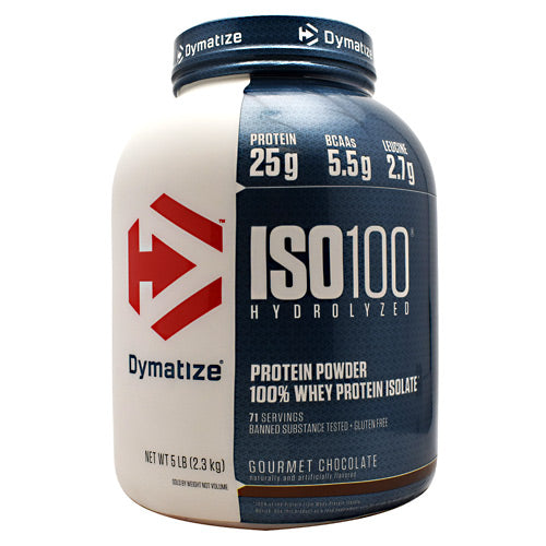 Iso-100 Chocolate 5 lbs by Dymatize New Improved Taste. Hydrolyzed 100% Whey Protein Isolate. You expect only the best from yourself and your nutrition. ISO-100 is one of the most advanced and effective proteins availabledeveloped to give you 100% of what you need to support muscle growth and achieve your goals. The Fastest-Acting Protein. ISO-100 provides 25 grams of super-fast absorbing 100% whey protein isolate and has been hydrolyzed for even faster absorption and digestion. It delivers quick amino acid replenishment, perfect first thing in the morning to stop catabolism or after intense training to speed your recovery. Each serving of ISO-100 has 5.5 grams of BCAAs including 2.7 grams of L-Leucine, the BCAA that is directly involved in activating Muscle Protein Synthesis to ensure your workouts are not going to waste. The Highest Level of Purity. ISO-100 uses only whey proteins derived from cross-flow microfiltration processing (cold-filtered) to preserve the many important whey protein fractions including lactoferrin and immunoglobins, which can be lost in other forms of processing. We have carefully formulated ISO-100 to deliver more of what you want, and less of what you don't: free of gluten and lactoseplus less than one gram of sugars and fat. With only a short list of ingredients, it is easy to see why ISO-100 is one of the purest proteins available. In addition, ISO-100 is produced in our own GMP manufacturing facility and is Informed-Choice Trusted by Sport certified providing assurance to the athletic community that ISO-100 is free of banned substances. New Improved Taste. The Dymatize has taken flavor to a whole new level. Our in-house flavor specialists worked long and hard to create an even more delicious taste. ISO-100, the reward you deserve for all your hard work and dedication. So delightfully delicious, you will look forward to the next shake.