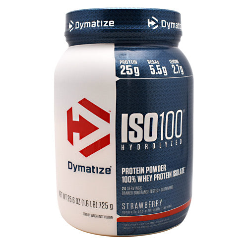 Iso-100 Strawberry 1.6 lbs by Dymatize New Improved Taste. Hydrolyzed 100% Whey Protein Isolate. You expect only the best from yourself and your nutrition. ISO-100 is one of the most advanced and effective proteins availabledeveloped to give you 100% of what you need to support muscle growth and achieve your goals. The Fastest-Acting Protein. ISO-100 provides 25 grams of super-fast absorbing 100% whey protein isolate and has been hydrolyzed for even faster absorption and digestion. It delivers quick amino acid replenishment, perfect first thing in the morning to stop catabolism or after intense training to speed your recovery. Each serving of ISO-100 has 5.5 grams of BCAAs including 2.7 grams of L-Leucine, the BCAA that is directly involved in activating Muscle Protein Synthesis to ensure your workouts are not going to waste. The Highest Level of Purity. ISO-100 uses only whey proteins derived from cross-flow microfiltration processing (cold-filtered) to preserve the many important whey protein fractions including lactoferrin and immunoglobins, which can be lost in other forms of processing. We have carefully formulated ISO-100 to deliver more of what you want, and less of what you don't: free of gluten and lactoseplus less than one gram of sugars and fat. With only a short list of ingredients, it is easy to see why ISO-100 is one of the purest proteins available. In addition, ISO-100 is produced in our own GMP manufacturing facility and is Informed-Choice Trusted by Sport certified providing assurance to the athletic community that ISO-100 is free of banned substances. New Improved Taste. The Dymatize has taken flavor to a whole new level. Our in-house flavor specialists worked long and hard to create an even more delicious taste. ISO-100, the reward you deserve for all your hard work and dedication. So delightfully delicious, you will look forward to the next shake.