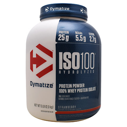 Iso-100 Strawberry 5 lbs by Dymatize New Improved Taste. Hydrolyzed 100% Whey Protein Isolate. You expect only the best from yourself and your nutrition. ISO-100 is one of the most advanced and effective proteins availabledeveloped to give you 100% of what you need to support muscle growth and achieve your goals. The Fastest-Acting Protein. ISO-100 provides 25 grams of super-fast absorbing 100% whey protein isolate and has been hydrolyzed for even faster absorption and digestion. It delivers quick amino acid replenishment, perfect first thing in the morning to stop catabolism or after intense training to speed your recovery. Each serving of ISO-100 has 5.5 grams of BCAAs including 2.7 grams of L-Leucine, the BCAA that is directly involved in activating Muscle Protein Synthesis to ensure your workouts are not going to waste. The Highest Level of Purity. ISO-100 uses only whey proteins derived from cross-flow microfiltration processing (cold-filtered) to preserve the many important whey protein fractions including lactoferrin and immunoglobins, which can be lost in other forms of processing. We have carefully formulated ISO-100 to deliver more of what you want, and less of what you don't: free of gluten and lactoseplus less than one gram of sugars and fat. With only a short list of ingredients, it is easy to see why ISO-100 is one of the purest proteins available. In addition, ISO-100 is produced in our own GMP manufacturing facility and is Informed-Choice Trusted by Sport certified providing assurance to the athletic community that ISO-100 is free of banned substances. New Improved Taste. The Dymatize has taken flavor to a whole new level. Our in-house flavor specialists worked long and hard to create an even more delicious taste. ISO-100, the reward you deserve for all your hard work and dedication. So delightfully delicious, you will look forward to the next shake.
