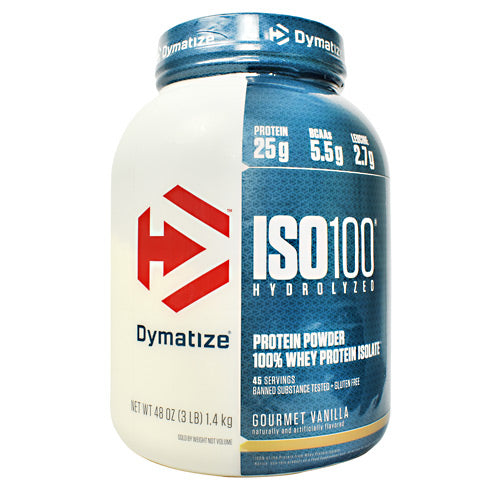 Iso-100 Vanilla 3 lbs by Dymatize New Improved Taste. Hydrolyzed 100% Whey Protein Isolate. You expect only the best from yourself and your nutrition. ISO-100 is one of the most advanced and effective proteins availabledeveloped to give you 100% of what you need to support muscle growth and achieve your goals. The Fastest-Acting Protein. ISO-100 provides 25 grams of super-fast absorbing 100% whey protein isolate and has been hydrolyzed for even faster absorption and digestion. It delivers quick amino acid replenishment, perfect first thing in the morning to stop catabolism or after intense training to speed your recovery. Each serving of ISO-100 has 5.5 grams of BCAAs including 2.7 grams of L-Leucine, the BCAA that is directly involved in activating Muscle Protein Synthesis to ensure your workouts are not going to waste. The Highest Level of Purity. ISO-100 uses only whey proteins derived from cross-flow microfiltration processing (cold-filtered) to preserve the many important whey protein fractions including lactoferrin and immunoglobins, which can be lost in other forms of processing. We have carefully formulated ISO-100 to deliver more of what you want, and less of what you don't: free of gluten and lactoseplus less than one gram of sugars and fat. With only a short list of ingredients, it is easy to see why ISO-100 is one of the purest proteins available. In addition, ISO-100 is produced in our own GMP manufacturing facility and is Informed-Choice Trusted by Sport certified providing assurance to the athletic community that ISO-100 is free of banned substances. New Improved Taste. The Dymatize has taken flavor to a whole new level. Our in-house flavor specialists worked long and hard to create an even more delicious taste. ISO-100, the reward you deserve for all your hard work and dedication. So delightfully delicious, you will look forward to the next shake.