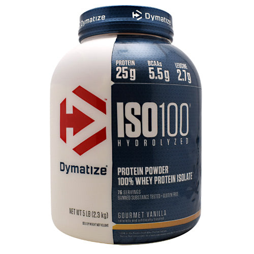 Iso-100 Vanilla 5 lbs by Dymatize New Improved Taste. Hydrolyzed 100% Whey Protein Isolate. You expect only the best from yourself and your nutrition. ISO-100 is one of the most advanced and effective proteins availabledeveloped to give you 100% of what you need to support muscle growth and achieve your goals. The Fastest-Acting Protein. ISO-100 provides 25 grams of super-fast absorbing 100% whey protein isolate and has been hydrolyzed for even faster absorption and digestion. It delivers quick amino acid replenishment, perfect first thing in the morning to stop catabolism or after intense training to speed your recovery. Each serving of ISO-100 has 5.5 grams of BCAAs including 2.7 grams of L-Leucine, the BCAA that is directly involved in activating Muscle Protein Synthesis to ensure your workouts are not going to waste. The Highest Level of Purity. ISO-100 uses only whey proteins derived from cross-flow microfiltration processing (cold-filtered) to preserve the many important whey protein fractions including lactoferrin and immunoglobins, which can be lost in other forms of processing. We have carefully formulated ISO-100 to deliver more of what you want, and less of what you don't: free of gluten and lactoseplus less than one gram of sugars and fat. With only a short list of ingredients, it is easy to see why ISO-100 is one of the purest proteins available. In addition, ISO-100 is produced in our own GMP manufacturing facility and is Informed-Choice Trusted by Sport certified providing assurance to the athletic community that ISO-100 is free of banned substances. New Improved Taste. The Dymatize has taken flavor to a whole new level. Our in-house flavor specialists worked long and hard to create an even more delicious taste. ISO-100, the reward you deserve for all your hard work and dedication. So delightfully delicious, you will look forward to the next shake.