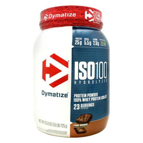 Iso-100 Fudge Brownie 1.6 lbs by Dymatize New Flavor. Hydrolyzed 100% Whey Protein Isolate. You expect only the best from yourself and your nutrition. ISO-100 is one of the most advanced and effective proteins availabledeveloped to give you 100% of what you need to support muscle growth and achieve your goals. The Fastest-Acting Protein. ISO-100 provides 25 grams of super-fast absorbing 100% whey protein isolate and has been hydrolyzed for even faster absorption and digestion. It delivers quick amino acid replenishment, perfect first thing in the morning to stop catabolism or after intense training to speed your recovery. Each serving of ISO-100 has 5.5 grams of BCAAs including 2.7 grams of L-Leucine, the BCAA that is directly involved in activating Muscle Protein Synthesis to ensure your workouts are not going to waste. The Highest Level of Purity. ISO-100 uses only whey proteins derived from cross-flow microfiltration processing (cold-filtered) to preserve the many important whey protein fractions including lactoferrin and immunoglobins, which can be lost in other forms of processing. We have carefully formulated ISO-100 to deliver more of what you want, and less of what you don't: free of gluten and lactoseplus less than one gram of sugars and fat. With only a short list of ingredients, it is easy to see why ISO-100 is one of the purest proteins available. In addition, ISO-100 is produced in our own GMP manufacturing facility and is Informed-Choice Trusted by Sport certified providing assurance to the athletic community that ISO-100 is free of banned substances. New Improved Taste. The Dymatize has taken flavor to a whole new level. Our in-house flavor specialists worked long and hard to create an even more delicious taste. ISO-100, the reward you deserve for all your hard work and dedication. So delightfully delicious, you will look forward to the next shake.
