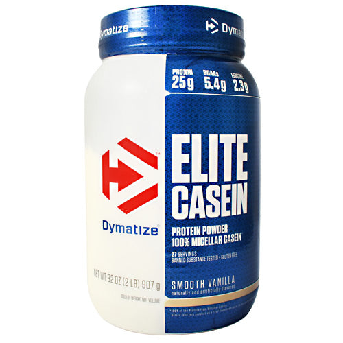 Elite Casein Vanilla 2 lbs by Dymatize Now Smoother & Better Tasting. 100% Micellar Casein. 25g of Protein, 5g of BCAA's, 5g of Glutamine, 1g of sugars. Dymatize Elite Casein helps keep your muscles supplied with a steady stream of amino acids, the building blocks of muscle. This helps avoid the catabolic state of muscle protein breakdown that begins to happen when your muscles are deprived of the right nutrients. Casein is a unique protein derived from milk that breaks down slowly in your digestive system, keeping you fuller longer and providing a sustained release of muscle-building amino acids. This makes casein the ideal choice any time your body goes without protein for an extended period, especially just before bedtime. Dymatize Elite Casein delivers 25 grams of sustained-release protein, with over 10 grams of critical branch chain amino acids (BCAAs) and glutamine-glutamine precursors per serving. We use only premium, 100% micellar casein, one of the slowest absorbing protein available, plus the advanced enzyme matrix, Zytrix to promote maximum absorption and utilization of our casein protein while supporting muscle nourishment for as long as seven hours. Smooth and creamy with an amazingly delicious taste, Dymatize Elite Casein is a great addition to your workout nutrition routine.