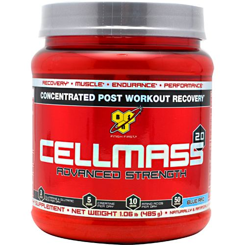 Cellmass 2.0 Blue Raspberry 1.09 lbs by BSN Inc. Recovery. Muscle. Endurance. Performance. 3 grams Glutamine Taking Cellmass 2.0 promotes quicker and more efficient recovery, combats muscular fatigue and breakdown, and supports muscle strength, endurance and overall performance. Adequately recovered from an intense training session, athletes are better prepared to excel in the following day's workout. For anyone who wants to ensure that their workouts don't go to waste and their hard-earned muscle isn't compromised, Cellmass 2.0 is where mass and recovery begin.