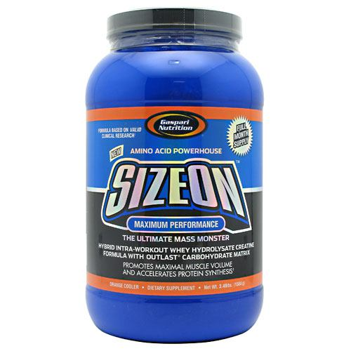 Sizeon Orange 3.49 lbs by Gaspari Nutrition New, Amino Acid Powerhouse. SizeOn Maximum Performance. The Ultimate Mass Monster. Hybrid Intra-Workout Whey Hydrolysate Creatine Formula with Outlast Carbohydrate Matrix. Promotes Maximal Muscle Volume and Accelerates Protein Synthesis. Dietary Supplement. Formula Based on Valid Clinical Research. Dramatic Results. Full Month Supply. There is Zero Doubt Size On Will: Accelerate Protein Synthesis  Increase Muscle Volume, Muscle Fiber Size, Cell Volume  Amplify S6K1 and 4E-BP1 Signaling and Hypertrophic mTOR Pathway Conductio; Initiate  Deliver Vital Nutrients, Essential Minerals, and Growth Cofactors To Skeletal Muscle Tissue; Harness the Insulintrophic and Anabolic Power of Pterostilbene. Gaspari Nutrition took Sports Nutrition to the highest level with the original SizeOn, the original intra-workout creatine drink. There wasn't any doubt it represented a serious innovative leap forward in the creatine category. The original SizeOn formula clearly demonstrated its effectiveness in a clinical setting and quickly became known as the King of Creatines. As clinical research advances, so does Gaspari Nutrition which is why SizeOn has now evolved into the Ultimate Hybrid Intra-Workout Whey Hydrolysate Creatine Formula. Once again Gaspari Nutrition raises the bar even higher in the sports nutrition Industry. Your body requires that proteins from whole food, whey isolate, casein, etc., be broken down in a process called hydrolyzation. This is an integral process which allows di and tripeptides to be absorbed and utilized for numerous processes including muscle building and repair. The problem is that while your muscles are starving for these nutrients (i.e. during exercise) your body must digest them into smaller peptides. Research has shown that these are absorbed even faster than free form amino acids. For this reason Gaspari Nutrition uses a high quality whey hydrolysate that contains over 50% di and tripeptides as well as a l