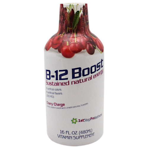 1st Step Liquid B-12 Cherry 16 oz by High Performance Fitness, Inc. Nutritional Supplement. Great tasting liquid vitamin. 1st step for energy. Better absorption. Vitamin B-12, the energy vitamin, is a natural energy source, it is essential for many functions within the body and vital for maintaining optimum health including; Formation of red blood cells. maintenance of the central nervous system. The support of healthy heart functions. Combating chronic fatigue. Formation of DNA. Regulating metabolic pathways.
