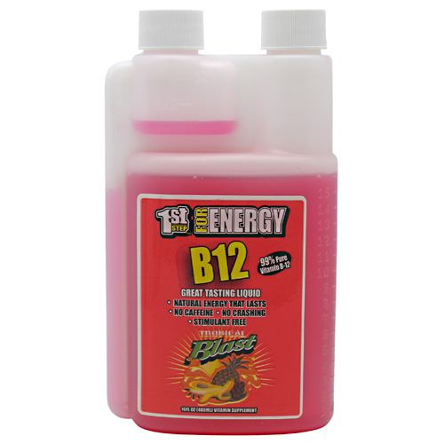 1st Step Liquid B-12 Tropical 16 oz by High Performance Fitness, Inc. Great Tasting Liquid; Natural Energy That Lasts; No Caffeine; No Crashing; Stimulant Free; 99% Pure Vitamin B-12. Vitamin B-12, the energy vitamin is a natual energy source. It is essential for many functions within the body and vital for maintaining optimum health including: Formation of red blood cells; Maintenance of the central nervous system; The support of healthy heart functions; Combating chronic fatigue; Formation of DNA; Regulating metabolic pathways.