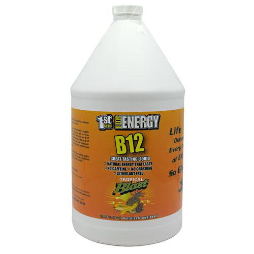 1st Step Liquid B-12 Tropical 1 Gal by High Performance Fitness, Inc. Great Tasting Liquid; Natural Energy That Lasts; No Caffeine; No Crashing; Stimulant Free. Vitamin B-12, the energy vitamin is a natual energy source. It is essential for many functions within the body and vital for maintaining optimum health including: Formation of red blood cells; Maintenance of the central nervous system; The support of healthy heart functions; Combating chronic fatigue; Formation of DNA; Regulating metabolic pathways. Vitamin B-12  therefore, supplementation can be very important for vegans as well as those predisposed to anemia. Sixteen percent of older adults are B-12 defivient, most often related to an inability to absorb vitamin B-12 found in food.  The Institute of Medicine recommends adults over 50 get most of their B-12 from supplements and fortified food because of impaired B-12 absorption. 1st Step For Energy High Potency B-12: A great tasting supplement you will enjoy taking day after day. Regular, consistent supplementation provides maximum benefits possible.
