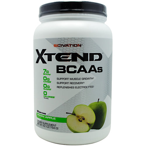 XTEND Green Apple 90 serving by Scivation Intra-Workout Catalyst. 3500mg L-Leucine For Muscle Protein Synthesis. 7000mg BCAAs. Over 4600mg of L-Glutamine, Citrulline Malate & Electrolytes. Zero Sugar or Carbs. Build Muscle, Burn Fat, Recovery Faster. Scivation Xtend the most advanced sugar and carbohydrate-free Intra-Workout Catalyst, scientifically formulated to maximize training intensity and promote optimal muscle protein synthesis and recovery while you train. Xtend is formulated with a precise PentActive blend of actives, synergistically involved in key cellular processed to optimize muscle performance and response. 1) Research validated 2:1:1 ration of the branched chain amino acids (BCAAs), L-Leucine, L-Isoleucine, and L-Valine to stimulate and support muscle protein synthesis and promote metabolic energy while you train. 2) Glutamine to promote muscle intracellular BCAA metabolism down to the correct energy and protein synthesis pathways via the BCAA aminotransferase enzyme. 3) The rate-limiting cofactor Vitamin B6 to ensure optimal BCAA aminotransferase reactions. 4) Bonded Citrulline Malate to help facilitate rapid ATP turnover and lactate reabsorption to support higher training volumes at a given exercise intensity. 5) The three most vital electrolytes-Potassium, Chloride and Sodium-to optimize cell hydration and muscle contractile function while you train under the most brutal of conditions.
