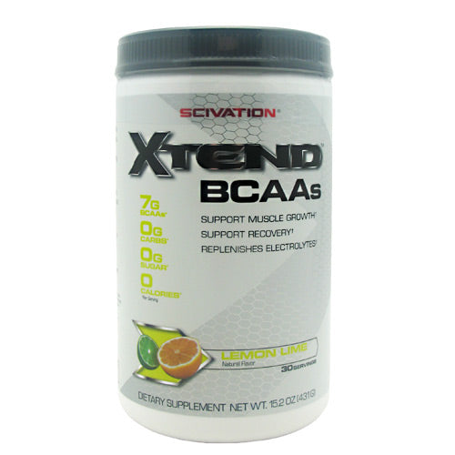 XTEND Lemon Lime 30 serving / 14.70 oz by Scivation BCAAs. Support Muscle Growth. Support Recovery. Replenishes Electrolytes. Scivation Xtend contains 7g of BCAAs  in the nature-designed and widely-researched 2:1:1 ratio  plus Glutamine and Citrulline Malate. Plus, with a proprietary blend of hydration-promoting electrolytes, Scivation Xtend is the delicious, refreshing, sugar-free way to help anyone grind through a grueling gym session. World-class athletes, elite bodybuilders, champion fighters, and weight training enthusiasts of varying types all use Scivation Xtend during their workouts in order to train longer, harder, and with more intensity.