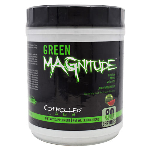 Green Magnitude Watermelon, 80 Servings by Controlled Labs Green MAGnitude is the most advanced powder creatine matrix ever to reach the market and one of the first creatine products on the market to combine Magnesium Creatine Chelate (a patented form of creatine), with Dicreatine Malate (creatine bound with Malic Acid) to deliver synergistic benefits you can actually FEEL working during your workout.Magnesium Creatine Chelate and Dicreatine Malate are important during both anaerobic and aerobic workouts and are involved in the efficient production and utilization of ATP. This KEY COMBINATION also has oxygen-sparing effects and helps optimize mitochondrial function to directly and indirectly  boost energy  during your workout or cardio session. As a bonus, when combined with Betaine Anhydrous, this potent combination may also help neutralize lactic acid build-up indirectly, and signal the body to use oxygen to burn fat as fuel.Taurine, Betaine Anhydrous, and Tyrosine have a wide variety of physiological and metabolic functions and were added to Green MAGnitude for potent volumizing, antioxidant, ergogenic, and cognitive benefits.